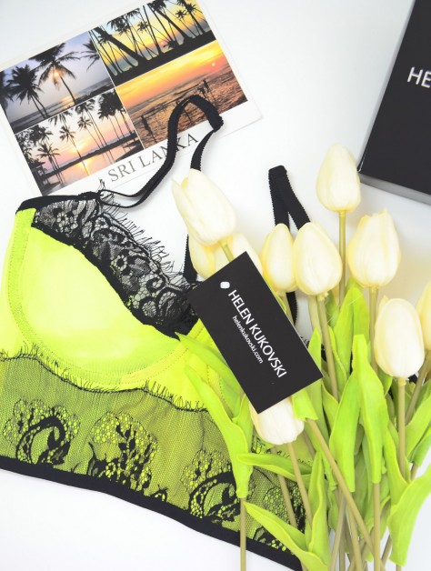 38626b2f1a2 Neon lime and black lace longline bustier bra