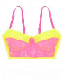 ca0b3159d85 Neon lime and hot pink lace longline bra ...